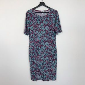 LuLaRoe Paisley Teal Purple Floral Julia Dress L